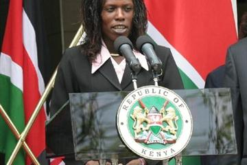 Pamela Jelimo gives address at official welcome (Stephen Mudiari)