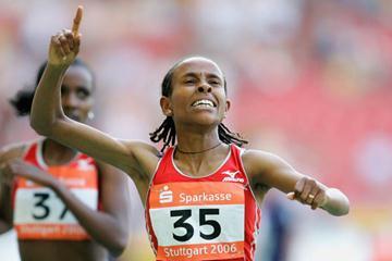 Meseret Defar successfully defends her 3000m WAF title in Stuttgart (Getty Images)