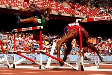 Cuba's Yordani Garcia falls in the decathlon 110m hurdles at the IAAF World Championships, Beijing 2015 (Getty Images)