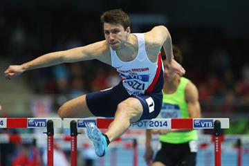 Andy Pozzi in the 60m hurdles at the 2014 IAAF World Indoor Championships in Sopot (Getty Images)