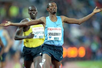 Ayanleh Souleiman winning the Dream Mile at the 2013 IAAF Diamond League meeting in Oslo (Jiro Mochizuki)