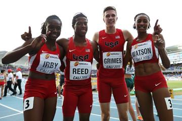 The victorious USA mixed 4x400m relay team at the IAAF World Youth Championships, Cali 2015  (Getty Images)