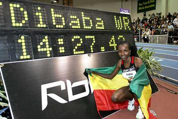 Tirunesh Dibaba sits next to her World record figures in Boston (Victah Sailer)