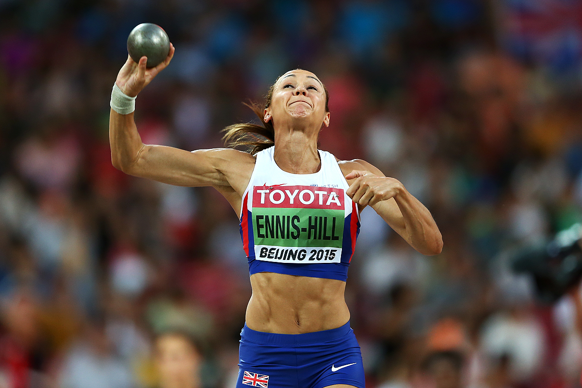 Jessica Ennis-Hill in the heptathlon shot put at the IAAF World Championships Beijing 2015 (Getty Images)