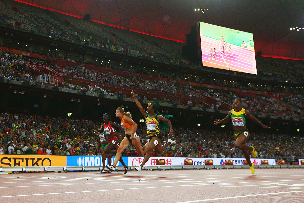 Shelly-Ann Fraser-Pryce wins the 100m at the IAAF World Championships Beijing 2015 (Getty Images)