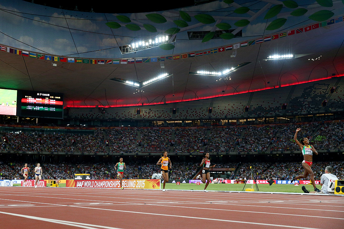 Genzebe Dibaba wins the 1500m at the IAAF World Championships Beijing 2015 (Getty Images)