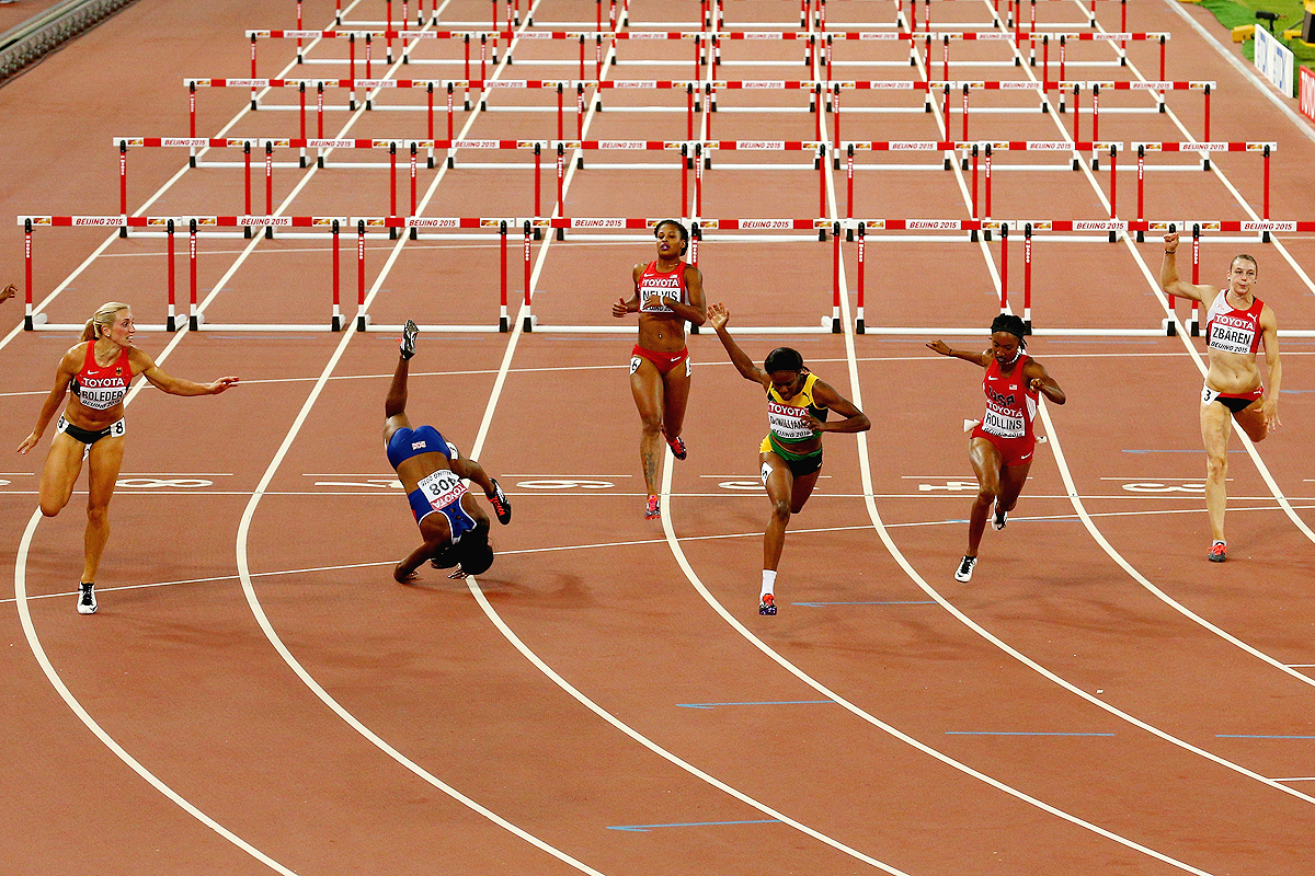 Danielle Williams wins the 100m hurdles at the IAAF World Championships Beijing 2015 (Getty Images)