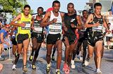 Azmeraw Bekele on the way to his upset victory at the Corrida de Langueux 10Km (Corrida de Langueux organisers)