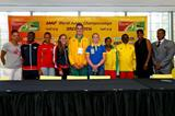 Joanna Hayes, Trayvon Brommell, Ana Peleteiro, Mary Cain, Matthew Denny, Sofi Flink, Dawit Seyaum, Jackie Joyner-Kersee and Ato Boldon at the press conference ahead of the IAAF World Junior Championships, Oregon 2014 (Getty Images)
