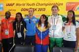 Robert Biwott, Ariana Washington, Volodymyr Myslyvchuk, Robeilys Peinado, Matthew Denny and Morgan Lake at the 2013 World Youth Championships press conference (Getty Images)