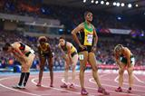 Kaliese Spencer after winning the 400m hurdles at the Commonwealth Games (Getty Images)