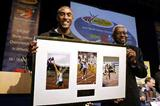 Colin Jackson and IAAF President Lamine Diack (Getty Images)