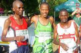 From left, the top-3 at the Nedbank Half Marathon: runner-up Juwawo Wirimai (Zimbabwe), winner Hendrick Ramaala (South Africa), and Elmore Sibanda (Zimbabwe) (Mark Ouma)