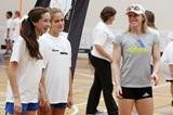 Sally Pearson helps coach a group of young girls at the launch of the IAAF Nestle Healthy Active Kids Athletics in Melbourne (Getty Images)