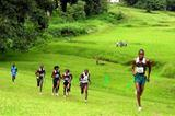 Boy Soke of South Africa (extreme right) on his way to winning the men's 12km at the African Southern Region Cross Country Championships (Mark Ouma)