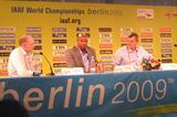 IAAF Editorial Senior Manager Chris Turner, IAAF Ambassador Mike Powell, and IAAF Communications Director Nick Davies at the IAAF Daily Media briefing in Berlin (Laura Arcoleo)