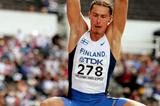 Tommi Evila of Finland sets a national record of 8.18 in the Long Jump qualification round (Getty Images)