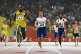 Asafa Powell brings Jamaica home safely in the 4x100m heats, while Great Britain were disqualified (Getty Images)