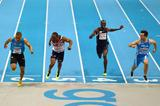 Jimmy Vicaut (left) out-dips James Dasaolu (second from left) in the 60m in Gothenburg (Getty Images)