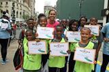 April Steiner Bennett with the winning team at the IAAF / Nestlé Kids' Athletics in New York, June 2014 (Victah Sailer / IAAF)