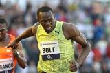 Working hard - Usain Bolt leaning to his 9.77w dash in Ostrava 2009 (Ostrava organisers)