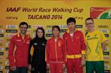 Jesus Angel Garcia, Sandra Arenas, Liu Hong, Chen Ding & Jared Tallent at the Taicang 2014 press conference (Getty Images)
