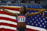 Gail Devers celebrates winning the 60m World Indoor title (Getty Images)