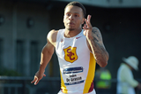 Andre De Grasse in action at the NCAA Championships (Kirby Lee)