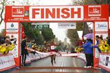 Amane Gobena winning at the 2014 Vodafone Istanbul Marathon (Organisers)