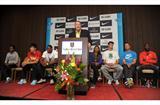 Eugene Press Conference - 3 June - (Left to right) Tirunesh Dibaba, Liu Xiang, David Oliver – Tom Jordon (meet director) – Allyson Felix, Andrew Wheating, Ashton Eaton, Bernard Lagat (Kirby Lee)