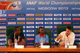 Ambassadors press conference Moscow 2013: Dwight Phillips, Tegla Loroupe, Sebastian Coe (Getty Images)