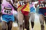 The figure of Paul Tergat (back) looms over the ambitions of the leaders (inc. Cherono and Chebon) at 2004 Kenya Armed Forces cross country championships men's long course race in Nairobi (Peter Njenga)