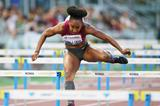 Brianna Rollins on her way to winning the 100m hurdles at the IAAF Diamond League meeting in Rome (Gladys Chai von der Laage)