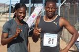 Botswana's Issac Makwala (r) and Amantle Montsho in Gaborone (Mark Ouma)