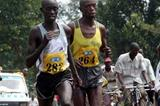 Martin Toroitich (Arua) 1:00:17 and Wilson Busienei Kipkemei (Arua) 1:00:16 at the national road running champs (Daniel Senfuma)