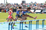 Sharika Nelvis on her way to winning the 100m hurdles at the IAAF Diamond League meeting in New York (Victah Sailer)