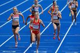 (L-R) Lisa Dobriskey of Great Britain & Northern Ireland, Maryam Jamal of Bahrain and Natalia Rodriguez of Spain racing towards the finish line in the women's 1500m final in the Berlin Olympic Stadium (Getty Images)