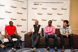 Wilhem Belocian, Colin Jackson, Dayron Robles and Liu Xiang speak to the press in Monaco (Philippe Fitte / IAAF)