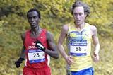Abdi Hakin Ulad (r) leading Mikael Ekvall at the Nordic Cross Country Championships in Copenhagen (Michael Hyllested)