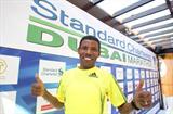Haile Gebrselassie at the pre-race press conference for the 2010 Dubai Marathon (Victah Sailer)