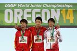 Long jump medallists Wang Jianan, Lin Qing and Shotaro Shiroyama at the IAAF World Junior Championships, Oregon 2014 (Getty Images)