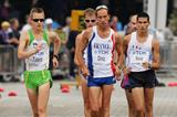 Jared Tallent of Australia, Yohan Diniz of France and Horacio Nava of Mexico in action in the men's 50km Race Walk final at the 12th IAAF World Championships in Athletics (Getty Images)