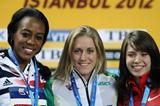 (L-R) Silver medalist Tiffany Porter of Great Britain, gold medalist Sally Pearson of Australia and bronze medalist Alina Talay of Belarus stand on the podium during the medal ceremony for the Women's 60 Metres Hurdles Finalduring day three - WIC Istanbul (Getty Images)