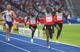 Ezekiel Kemboi of Kenya celebrates as he crosses the line to win the gold medal and set the championship record in the men's 3000m Steeplechase final in the Berlin Olympic Stadium (Getty Images)