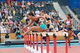 Queen Harrison winning the 100m hurdles at the 2014 IAAF Diamond League in Glasgow (Victah Sailer)