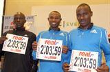 Eliud Kiptanui, Geoffrey Mutai and Patrick Makau at the  real_Berlin Marathon press conference (Victah Sailer)