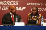Frankie Fredericks and Tegla Loroupe at the IAAF World Athletics Forum in Moscow (Getty Images)