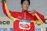 Chao Sun celebrates winning the men's Junior 20km in Naumburg (Getty Images)