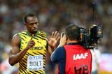 Usain Bolt before his 200m heat at the IAAF World Championships, Beijing 2015 (Getty Images)