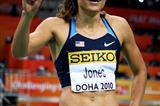 Lolo Jones of USA celebrates winning gold in the 60m Hurdles (Getty Images)